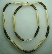 spiral carved bone and heishi cut pinshell necklace 003