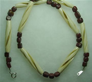 spiral carved bone and red jasper nugget necklace 005