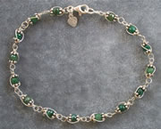 Emerald Bracelet wire sculpted with argentium silver wire