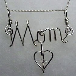 MOM Wire Sculpted Name / Word Pendant