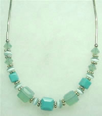 Turquoise and Pacific Blue Opal Swarovki Crystal Necklace 005