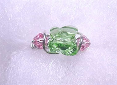 92bb0ba76 ring 011. Peridot Swarovski 8mm Butterfly with 4mm Light Rose Swarovski  Bicone Accents Sterling Silver Wire Wrapped Ring