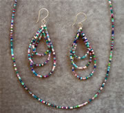 Nulti-Color Pink, Purple and Turquoise Seedbead Necklace and Teardrop Loop Earrings Set