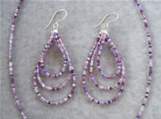 Multi-Color Purple Seedbead Necklace and Teardrop Loop Earrings Set