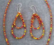 Multi Color Red, Yellow and Orange Glass Seedbead Necklace and Teardrop Loop Earring Set