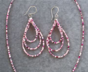 Multi-Color Pink Glass Seedbead Necklace and Teardrop Loop Earrings Set